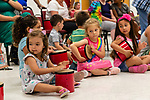 Prospect, CT. 17 July 2019-071719 - A group of young kids bang on their drums during a interactive presentation by Bob Bloom hosted by the Friends of the Prospect Library, at Prospect Fire House in Prospect on Wednesday. Bill Shettle Republican-American