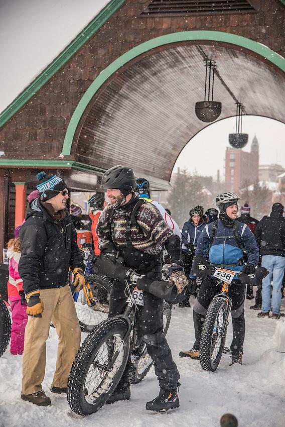 Finish of the 906 Polar Roll winter fat bike race in Marquette, Michigan.