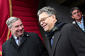 United States Senators Sheldon Whitehouse (Democrat of Rhode Island), left, and Al Franken (Democrat of Minnesota), right, arrive for the presidential inauguration on the West Front of the U.S. Capitol January 21, 2013 in Washington, DC.   Barack Obama was re-elected for a second term as President of the United States.       .Credit: Win McNamee / Pool via CNP