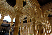Ornate ceiling in the Patio de los Leones area of Alhambra, a 14th-century palace in Granada, Andalusia, Spain.