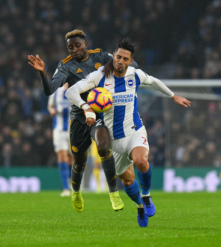 Brighton & Hove Albion's Beram Kayal (right) is tackled by Leicester City's Wilfred Ndidi (left) <br /> <br /> Photographer David Horton/CameraSport<br /> <br /> The Premier League - Brighton and Hove Albion v Leicester City - Saturday 24th November 2018 - The Amex Stadium - Brighton<br /> <br /> World Copyright © 2018 CameraSport. All rights reserved. 43 Linden Ave. Countesthorpe. Leicester. England. LE8 5PG - Tel: +44 (0) 116 277 4147 - admin@camerasport.com - www.camerasport.com