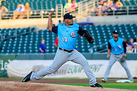 Colorado Springs Sky Sox pitcher Hiram Burgos (13) during game two of a Pacific Coast League doubleheader against the Iowa Cubs on August 17, 2017 at Principal Park in Des Moines, Iowa. Iowa defeated Colorado Springs 6-0. (Brad Krause/Krause Sports Photography)