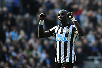 Mohamed Diame of Newcastle United celebrates at the final whistle during Newcastle United vs Arsenal, Premier League Football at St. James' Park on 15th April 2018