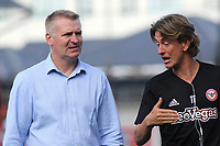 Brentford Manager, Dean Smith listens to Thomas Frank, a member of his coaching team during Brentford vs Wigan Athletic, Sky Bet EFL Championship Football at Griffin Park on 15th September 2018