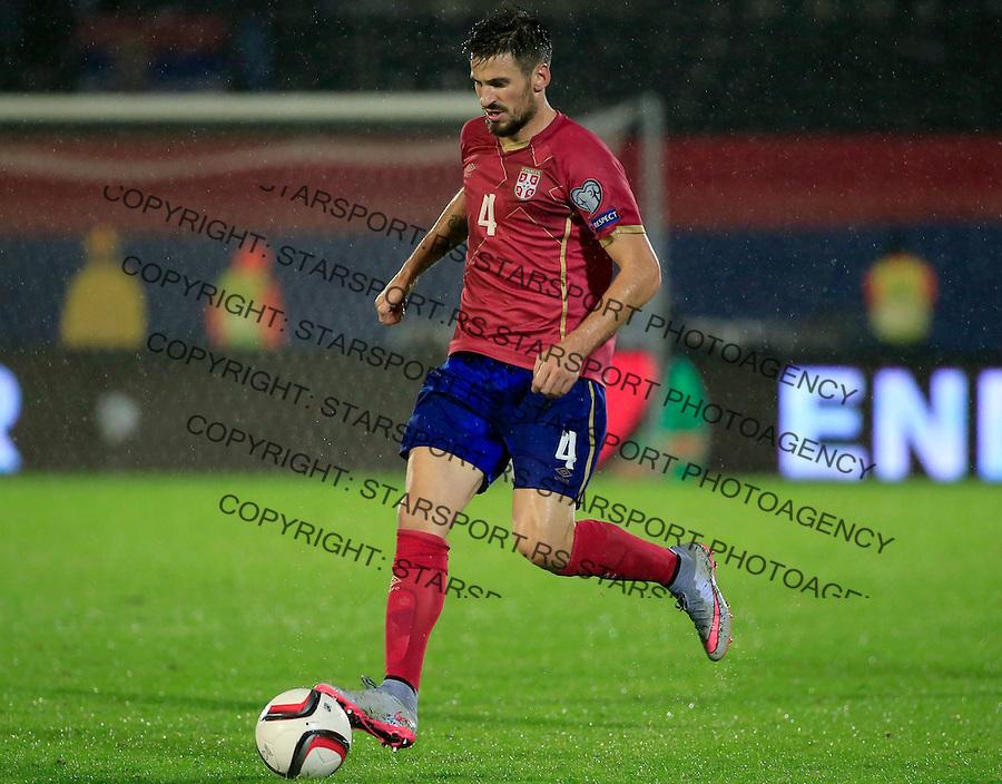 Fudbal, kvalifikacije za UEFA EURO 2016 qualifiers-Qualifying round - Group I<br /> Srbija v Portugal<br /> Nenad Tomovic <br /> Beograd, 11.10.2015.<br /> foto: Srdjan Stevanovic/Starsportphoto &copy;