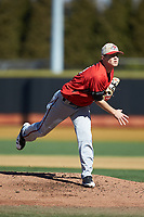 Gardner-Webb Runnin' Bulldogs starting pitcher Landon Mitchell (11) follows through on his delivery against the Wake Forest Demon Deacons at David F. Couch Ballpark on February 18, 2018 in  Winston-Salem, North Carolina. The Demon Deacons defeated the Runnin' Bulldogs 8-4 in game one of a double-header.  (Brian Westerholt/Four Seam Images)