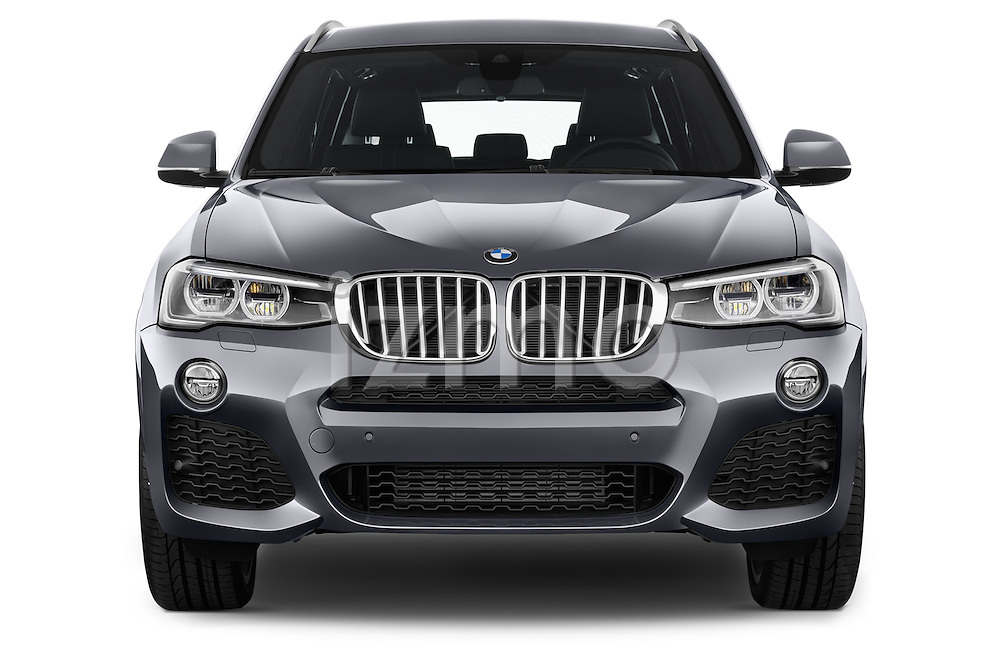 Car photography straight front view of a 2015 BMW X3 M Sportpakket 5 Door Suv Front View
