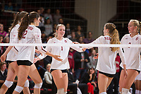 STANFORD, CA - November 15, 2017: Merete Lutz, Audriana Fitzmorris, Jenna Gray, Meghan McClure, Kathryn Plummer at Maples Pavilion. The Stanford Cardinal defeated USC 3-0 to claim the Pac-12 conference title.