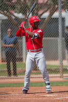 Cincinnati Reds shortstop Jeter Downs (3) during a Minor League Spring Training game against the Los Angeles Angels at the Cincinnati Reds Training Complex on March 15, 2018 in Goodyear, Arizona. (Zachary Lucy/Four Seam Images)