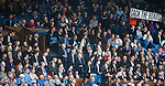 Rangers fans protesting next to the directors box