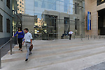 People at the entrance of Bank Leumi headquarters building in Tel Aviv, Israel.<br />