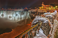 Winter night view of the Canadian falls at Niagara