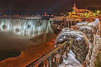 Winter night view of the Canadian falls at Niagara