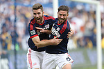 07 December 2014: New England's Chris Tierney (8) celebrates his goal with Patrick Mullins (left). The Los Angeles Galaxy played the New England Revolution in Carson, California in MLS Cup 2014. Los Angeles won 2-1 in overtime.