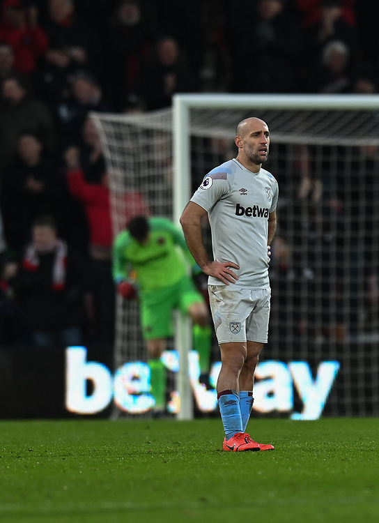West Ham United's Pablo Zabaleta looks on frustration after Bournemouth's Joshua King gives Bournemouth 2-0 lead<br /> <br /> Photographer David Horton/CameraSport<br /> <br /> The Premier League - Bournemouth v West Ham United - Saturday 19 January 2019 - Vitality Stadium - Bournemouth<br /> <br /> World Copyright &copy; 2019 CameraSport. All rights reserved. 43 Linden Ave. Countesthorpe. Leicester. England. LE8 5PG - Tel: +44 (0) 116 277 4147 - admin@camerasport.com - www.camerasport.com