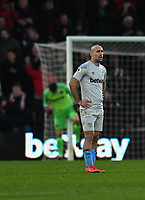 West Ham United's Pablo Zabaleta looks on frustration after Bournemouth's Joshua King gives Bournemouth 2-0 lead<br /> <br /> Photographer David Horton/CameraSport<br /> <br /> The Premier League - Bournemouth v West Ham United - Saturday 19 January 2019 - Vitality Stadium - Bournemouth<br /> <br /> World Copyright © 2019 CameraSport. All rights reserved. 43 Linden Ave. Countesthorpe. Leicester. England. LE8 5PG - Tel: +44 (0) 116 277 4147 - admin@camerasport.com - www.camerasport.com