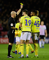 Blackburn Rovers' Kasey Palmer is shown a yellow card by referee Anthony Taylor for diving<br /> <br /> Photographer Chris Vaughan/CameraSport<br /> <br /> The EFL Sky Bet Championship - Sheffield United v Blackburn Rovers - Saturday 29th December 2018 - Bramall Lane - Sheffield<br /> <br /> World Copyright © 2018 CameraSport. All rights reserved. 43 Linden Ave. Countesthorpe. Leicester. England. LE8 5PG - Tel: +44 (0) 116 277 4147 - admin@camerasport.com - www.camerasport.com
