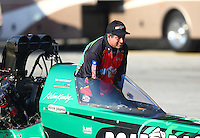 Sep 24, 2016; Madison, IL, USA; NHRA top fuel driver Kebin Kinsley during qualifying for the Midwest Nationals at Gateway Motorsports Park. Mandatory Credit: Mark J. Rebilas-USA TODAY Sports