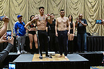 Las Vegas 02-12-2020: Reid Boxing inaugural Professional Boxing Weighin, at the Westgate Las Vegas with 5 exciting cards RAVSHAN HUDAYNAZAROV  (L) vs CAMERON KRAEL (R)