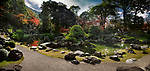 Panoramic scenery of a traditional Japanese Zen rock garden with a pond and bridges leading to islands Kameshima and Tsurushima with white pine trees. Sanbo-in, Sanboin Buddhist temple, a sub-temple of Daigo-ji temple, Daigoji complex in Fushimi-ku, Kyoto, Japan 2017