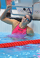 August 02, 2012..Rebecca Soni is reacts after setting a new world record time in Women's 200m Breaststroke Final at the Aquatics Center on day six of 2012 Olympic Games in London, United Kingdom.