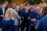 Roma 20 Agosto 2015<br /> I funerali del senatore di Forza Italia Donato Bruno, nella Basilica di San Lorenzo fuori le mura. L'arrivo del presidente di Forza Italia Silvio Berlusconi, ai funerali del senatore Bruno.<br /> Rome August 20, 2015<br /> The funeral of Senator Forza Italy Donato Bruno, Papal Basilica of Saint Lawrence outside the Walls. The arrival of the president of Forza Italy Silvio Berlusconi, at the funeral of Senator Bruno.