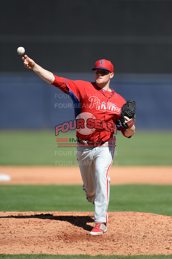 Philadelphia Phillies pitcher Kevin Munson (52) during a spring training game against the New York Yankees on March 1, 2014 at Steinbrenner Field in Tampa, Florida.  New York defeated Philadelphia 4-0.  (Mike Janes/Four Seam Images)