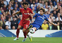 Mohamed Salah of Liverpool and Marcos Alonso of Chelsea during the Premier League match between Chelsea and Liverpool at Stamford Bridge on September 22nd 2019 in London, England. (Photo by Zed Jameson/phcimages.com)<br /> Foto PHC/Insidefoto <br /> ITALY ONLY