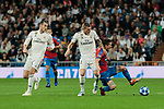 Real Madrid's (L-R) Gareth Bale, Toni Kroos and Luka Modric and FC Viktoria Plzen's Patrik Hrosovsky during UEFA Champions League match between Real Madrid and FC Viktoria Plzen at Santiago Bernabeu Stadium in Madrid, Spain. October 23, 2018. (ALTERPHOTOS/A. Perez Meca)