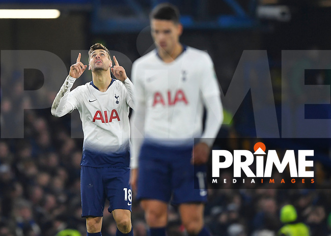 Fernando Llorente of Tottenham Hotspur celebrates scoring during the Carabao Cup Semi-Final 2nd leg match between Chelsea and Tottenham Hotspur at Stamford Bridge, London, England on 24 January 2019. Photo by Vince  Mignott / PRiME Media Images.