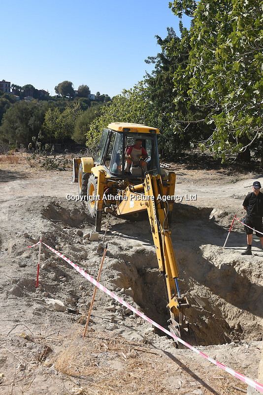 """FAO JANET TOMLINSON, DAILY MAIL <br /> Pictured: A digger at the field where the search is taking place in Kos, Greece. Friday 30 September 2016<br /> Re: Police teams searching for missing toddler Ben Needham on the Greek island of Kos have said they are """"optimistic"""" about new excavation work.<br /> Ben, from Sheffield, was 21 months old when he disappeared on 24 July 1991 during a family holiday.<br /> Digging has begun at a new site after a fresh line of inquiry suggested he could have been crushed by a digger.<br /> South Yorkshire Police (SYP) said it continued to keep an """"open mind"""" about what happened to Ben."""
