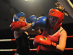 Jessica Dyas (red) and Emma Rooney (blue) taking part in the Tullyallen white collar boxing. Photo: Colin Bell/pressphotos.ie