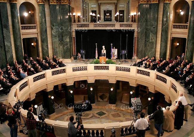 A memorial service in honor of former senator William Proxmire, held Feb. 25, 2006 on the second floor of the Capitol Rotunda in Madison, Wis.