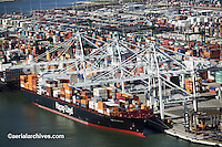 aerial photograph Hapag Lloyd containership Port of Oakland, California
