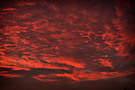 Red cloudy sky at sunrise