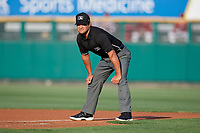 Umpire Charlie Ramos during a game between the Lehigh Valley IronPigs and the Rochester Red Wings on June 29, 2018 at Frontier Field in Rochester, New York.  Lehigh Valley defeated Rochester 2-1.  (Mike Janes/Four Seam Images)