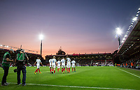Celebrations after Demarai Gray (Leicester City) of England U21 scores the opening goal during the UEFA EURO U-21 First qualifying round International match between England 21 and Latvia U21 at the Goldsands Stadium, Bournemouth, England on 5 September 2017. Photo by Andy Rowland.