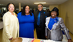 WATERBURY, CT-092317JS09-- Event committee members, from left, Vicorine Morrison; Rahsaan Harper; Garon Stevenson and Thelma Lewis, at the Refuge Church of Christ's 70th anniversary banquet held at the church in Waterbury. <br />  Jim Shannon Republican-American