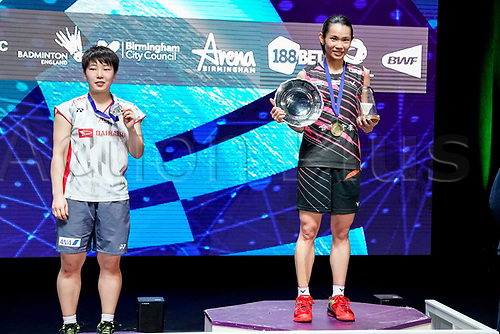 18th March 2018, Arena Birmingham, Birmingham, England; Yonex All England Open Badminton Championships; Tai Tzu Ying (TPE) receives the trophy for  winning the womens singles the final against Akane Yamaguchi (JPN)