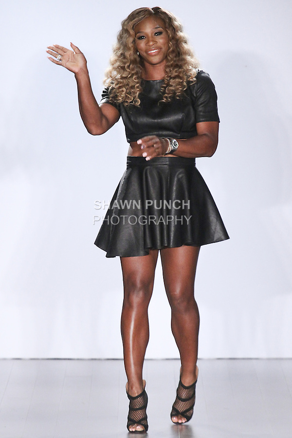 Serena Williams walks runway for the close of the Serena William Signature Statement collection fashion show at Style360, during New York Fashion Week Spring 2015.