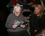Elizabeth Ireland McCann and Sharon Fallon with Cast of acclaimed Broadway-bound play 'Indecent' meet their Off-Broadway counterparts in 'God of Vengeance' at La Mama on January 10, 2017 in New York City.