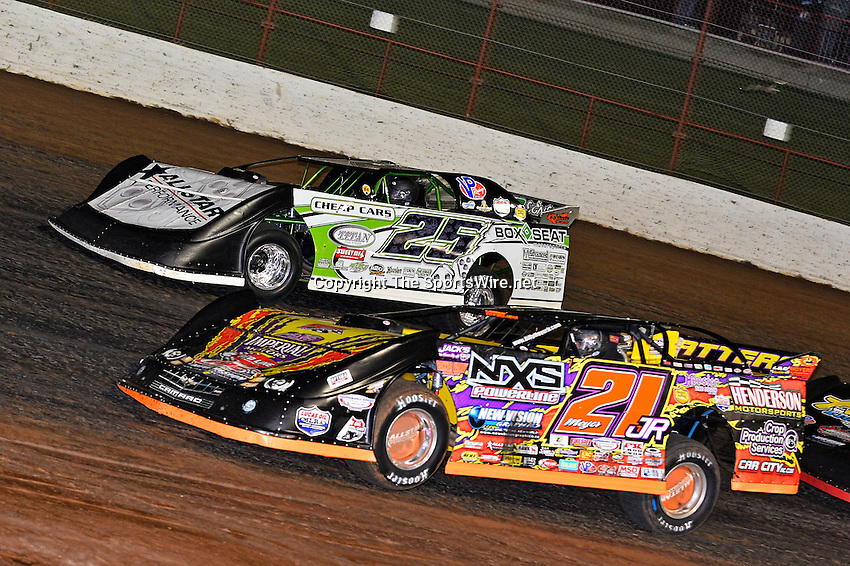 May 23, 2013; 10:05:24 PM; Wheatland, Mo., USA; The  Lucas Oil Late Model Dirt Series running the 21st Annual Lucas Oil Show-Me 100 Presented by ProtectTheHarvest.com.  Mandatory Credit: (thesportswire.net)