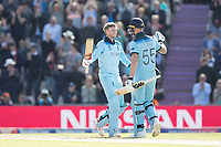 Ben Stokes (England) congratulates Joe Root (England) on his century during England vs West Indies, ICC World Cup Cricket at the Hampshire Bowl on 14th June 2019
