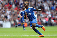 Kelechi Iheanacho of Leicester City celebrates scoring the third goal during Tottenham Hotspur vs Leicester City, Premier League Football at Wembley Stadium on 13th May 2018