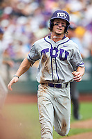 TCU Horned Frogs outfielder Cody Jones (1) scores against the LSU Tigers in the NCAA College World Series on June 14, 2015 at TD Ameritrade Park in Omaha, Nebraska. TCU defeated LSU 10-3. (Andrew Woolley/Four Seam Images)