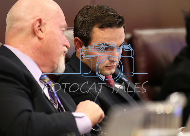 Nevada Assembly Republicans Randy Kirner, left, and Derek Armstrong work in the Assembly Taxation Committee at the Legislative Building in Carson City, Nev., on Tuesday, Feb. 10, 2015. The committee heard a proposal Tuesday that would strengthen tax laws related to Nevada's new medical marijuana program.  <br /> Photo by Cathleen Allison