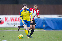 Michael O'Donohue of Haringey Borough brings the ball out of defence during AFC Hornchurch vs Haringey Borough, Bostik League Division 1 North Football at Hornchurch Stadium on 10th February 2018