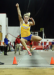 VERMILLION, SD - FEBRUARY 8:  Carley Carper from South Dakota State University competes in the long jump at the University of South Dakota Track Alumni Meet Saturday at the DakotaDome in Vermillion.  (Photo by Dave Eggen/Inertia)