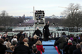 United States President Barack Obama waves during the public ceremonial inauguration on the West Front of the U.S. Capitol January 21, 2013 in Washington, DC.   Barack Obama was re-elected for a second term as President of the United States.  .Credit: Win McNamee / Pool via CNP