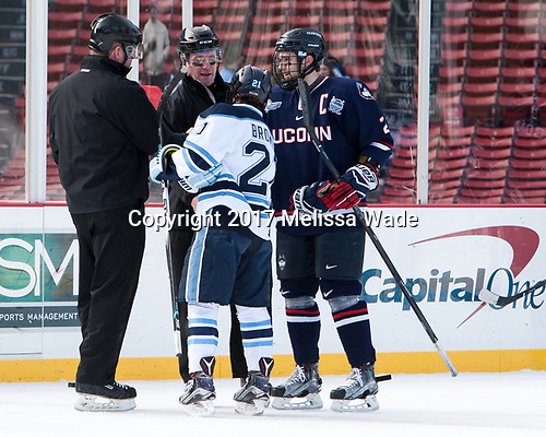 Tim Low, Kevin Keenan, Cam Brown (Maine - 21), Derek Pratt (UConn - 2) - The University of Maine Black Bears defeated the University of Connecticut Huskies 4-0 at Fenway Park on Saturday, January 14, 2017, in Boston, Massachusetts.